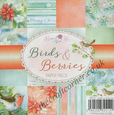 "Birds & Berries 6"" x 6"" Designer Paper Pack by Wild Rose Studio"